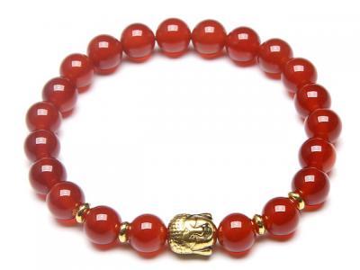 Zlatý Buddha náramek červený achát