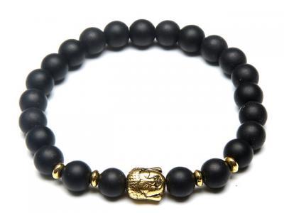Zlatý Buddha náramek onyx matný