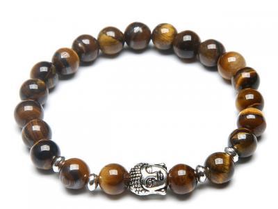 Stříbrný Buddha náramek tygří oko